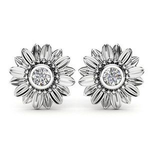 Sterling Silver Diamond Sunflower Stud Earrings